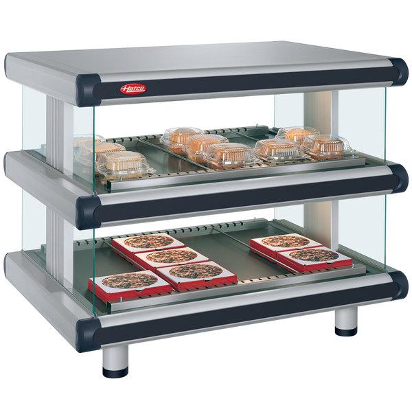 """Hatco GR2SDH-54D Glo-Ray Designer 54"""" Horizontal Double Shelf Merchandiser - 120/240V"""