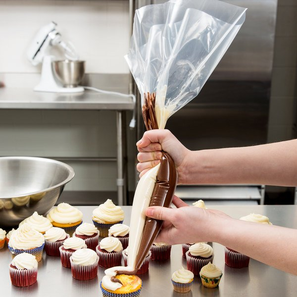 """Ateco 465 18"""" Clear Dual-Color Striping Pastry Bag (August Thomsen) - 10/Pack"""