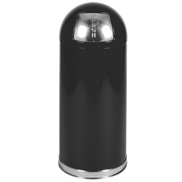 Rubbermaid FGR1536EPLBK Round-Tops Black with Chrome Accents Steel Waste Receptacle with Rigid Plastic Liner 15 Gallon