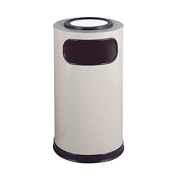 Rubbermaid FGSO16SUEGLAL Almond Round Steel Waste Receptacle with Galvanized Steel Liner and Sand Urn Cap Ash Tray 12 Gallon