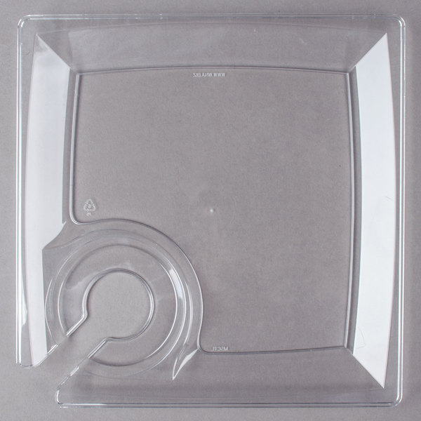 WNA Comet MSCTL 8 inch Clear Square Milan Plastic Cocktail Plate with Cup Holder - 12 & WNA Comet MSCTL 8