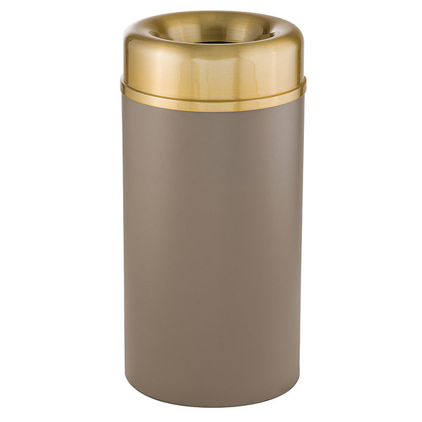 Rubbermaid FGAOT15SBBRPL Crowne Textured Brown with Brass Accents Round Open Top Steel Waste Receptacle with Rigid Plastic Liner 15 Gallon