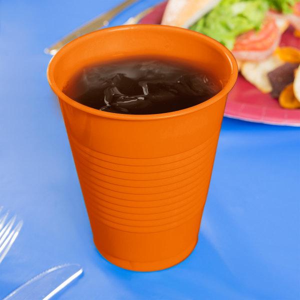 Creative Converting 28191081 16 oz. Sunkissed Orange Plastic Cup - 240/Case Main Image 3
