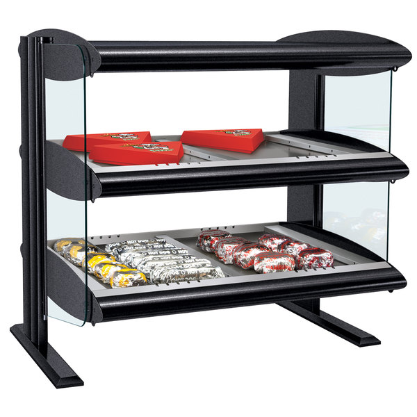 "Hatco HZMH-36D Black 36"" Horizontal Double Shelf Heated Zone Merchandiser - 120/208V Main Image 2"