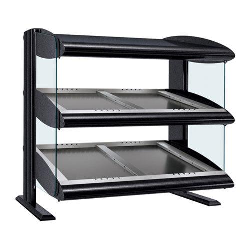 "Hatco HZMS-24D Black 24"" Slanted Double Shelf Heated Zone Merchandiser - 120V"