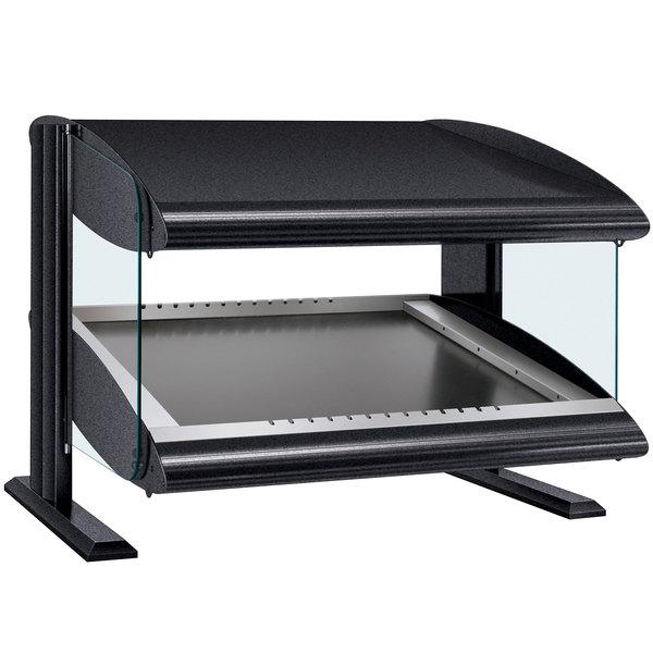 "Hatco HZMS-24 Black 24"" Slanted Single Shelf Heated Zone Merchandiser - 120V"