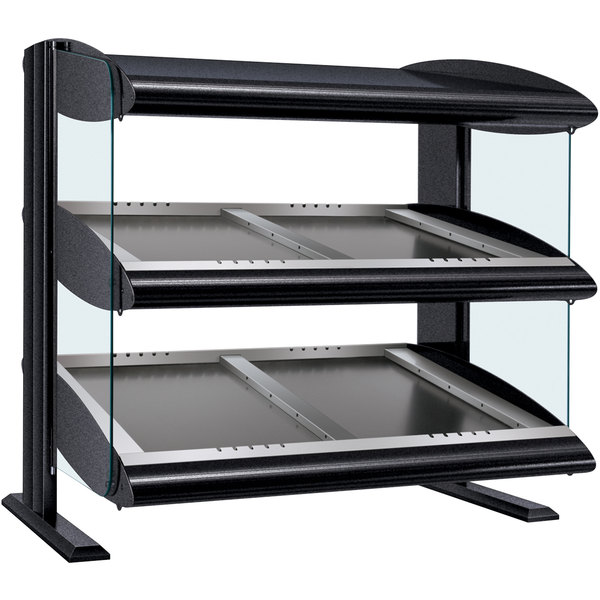 "Hatco HZMS-30D Black 30"" Slanted Double Shelf Heated Zone Merchandiser - 120/240V"