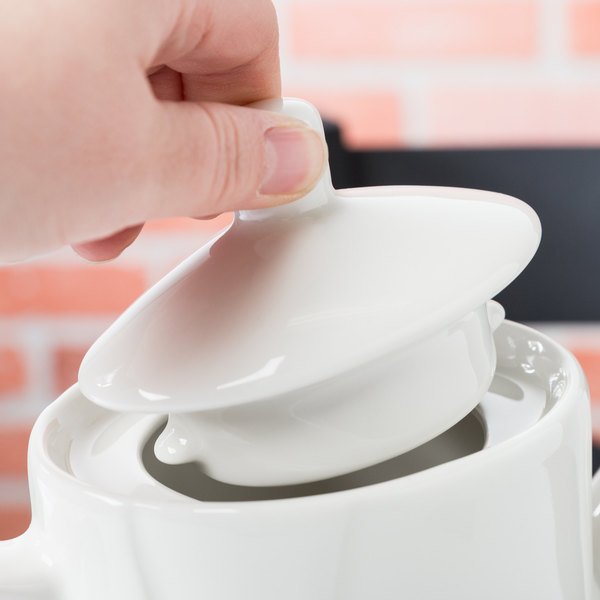 Tuxton AMU-102L Modena AlumaTux Pearl White Coffee Pot Lid - 12/Case