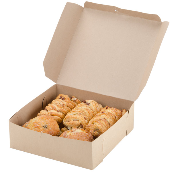 "9"" x 9"" x 3"" Kraft Cake / Bakery Box - 250/Bundle Main Image 4"