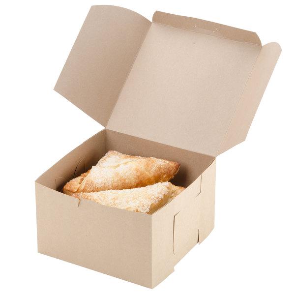 "Southern Champion 09455K 8"" x 8"" x 5"" Kraft Cake / Bakery Box - 100/Bundle"