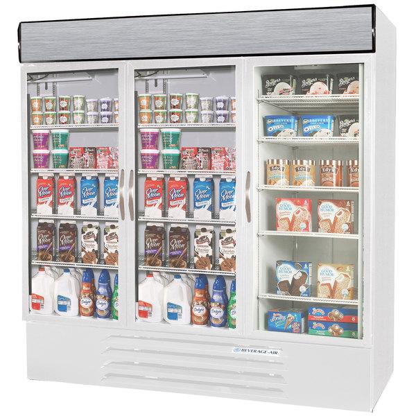 Configuration J Beverage Air Market Max MMRF72-1-WW-LED White 3 Section Glass Door Dual Temperature Merchandiser - 72 Cu. Ft.
