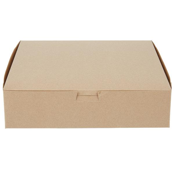"""10"""" x 10"""" x 2 1/2"""" Kraft Cake / Pie Bakery Box - 250/Bundle"""