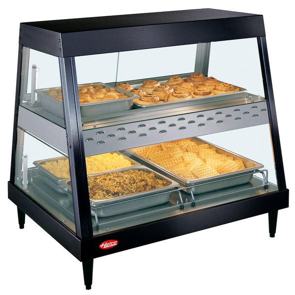 "Hatco GRHD-2PD Black Stainless Steel Glo-Ray 32 1/2"" Full Service Dual Shelf Merchandiser Main Image 1"