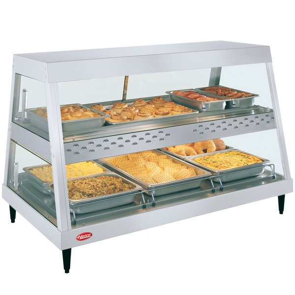 "Hatco GRHD-3PD White Granite Stainless Steel Glo-Ray 45 1/2"" Full Service Dual Shelf Merchandiser Main Image 1"