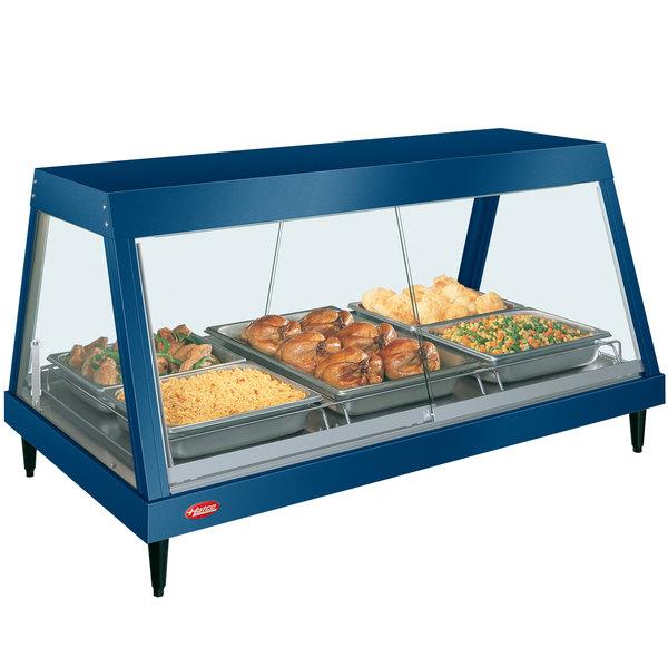 "Hatco GRHD-3P Navy Blue Stainless Steel Glo-Ray 45 1/2"" Full Service Single Shelf Merchandiser"