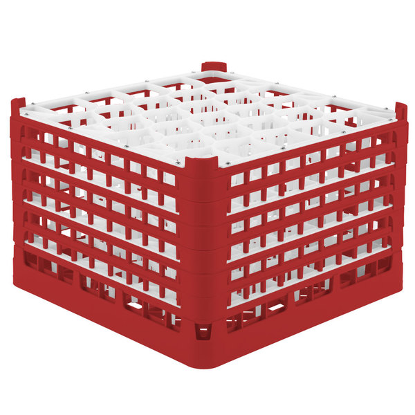 """Vollrath 52849 Signature Lemon Drop Full-Size Red 30-Compartment 11 3/8"""" XXXX-Tall Glass Rack Main Image 1"""
