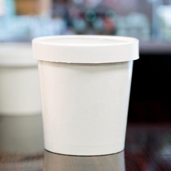 Choice 16 oz. Double-Wall Poly White Paper Soup / Hot Food Cup with Vented Paper Lid - 25/Pack