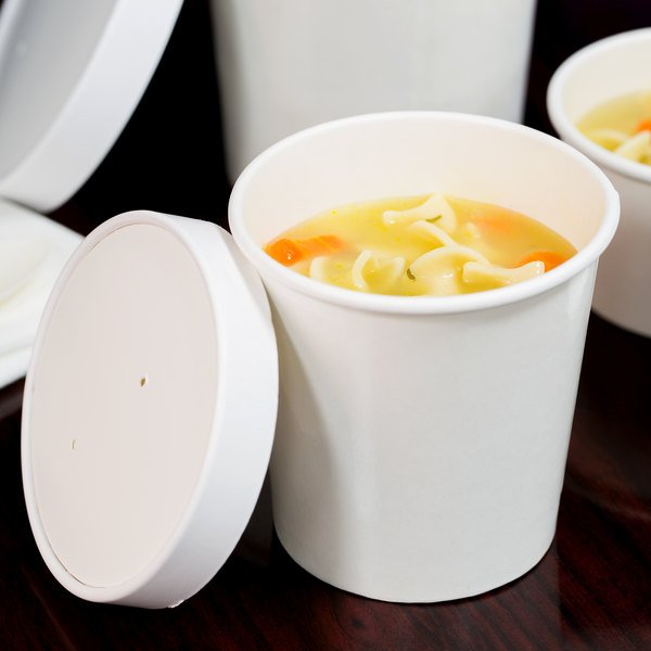 Choice 16 oz. Double Poly-Coated White Paper Food Cup with Vented Paper Lid - 25/Pack