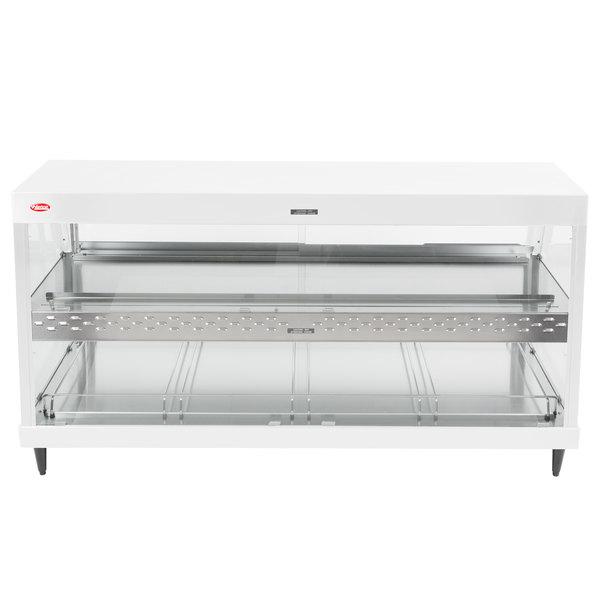 """Hatco GRHD-4PD White Granite Stainless Steel Glo-Ray 58 1/2"""" Full Service Dual Shelf Merchandiser - 120/208V"""