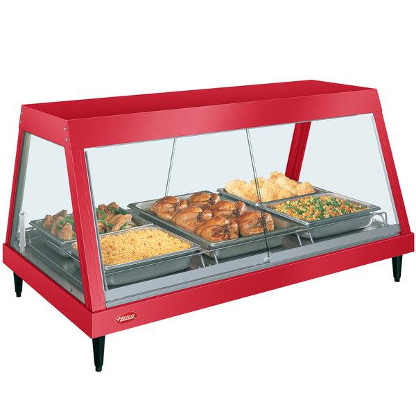 "Hatco GRHD-3P Warm Red Stainless Steel Glo-Ray 45 1/2"" Full Service Single Shelf Merchandiser Main Image 1"