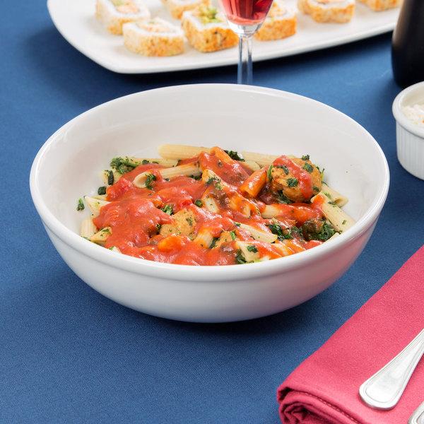 Tuxton BPB-5203 DuraTux 1.6 Qt. Bright White China Menudo / Pasta / Salad Bowl - 12/Case