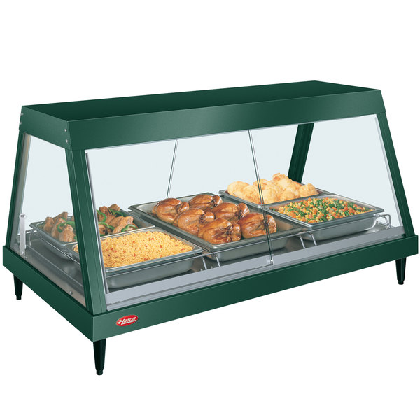 "Hatco GRHD-3P Hunter Green Stainless Steel Glo-Ray 45 1/2"" Full Service Single Shelf Merchandiser"
