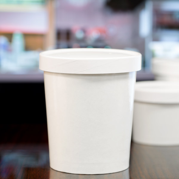 Choice 32 oz. Double-Wall Poly White Paper Soup / Hot Food Cup with Vented Paper Lid - 25/Pack