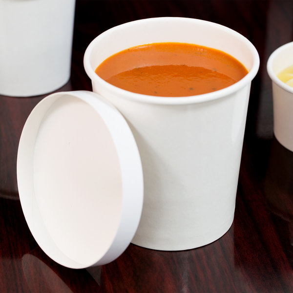 Choice 32 oz. Double Poly-Coated White Paper Food Cup with Vented Paper Lid - 25/Pack
