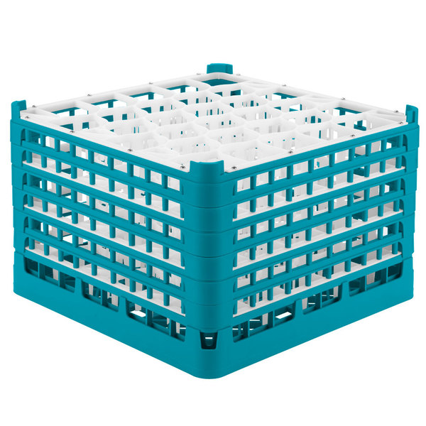 "Vollrath 52849 Signature Lemon Drop Full-Size Light Blue 30-Compartment 11 3/8"" XXXX-Tall Glass Rack Main Image 1"