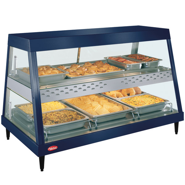 "Hatco GRHD-3PD Navy Blue Stainless Steel Glo-Ray 45 1/2"" Full Service Dual Shelf Merchandiser Main Image 1"