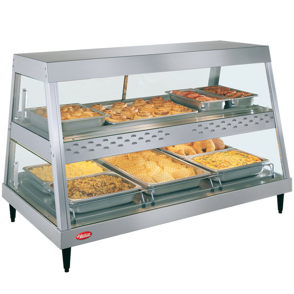 "Hatco GRHD-3PD Stainless Steel Glo-Ray 45 1/2"" Full Service Dual Shelf Merchandiser Main Image 1"