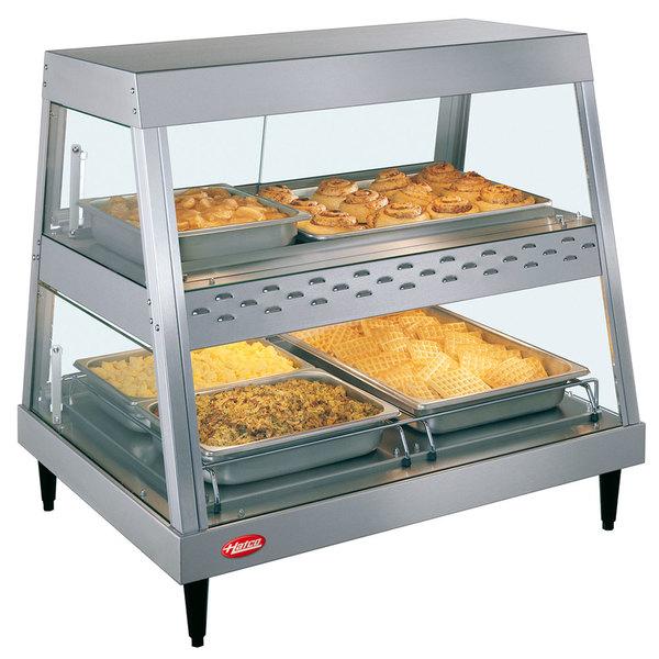 "Hatco GRHD-2PD Stainless Steel Glo-Ray 32 1/2"" Full Service Dual Shelf Merchandiser Main Image 1"