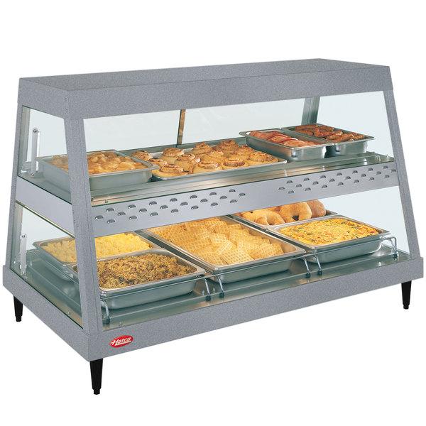 "Hatco GRHD-3PD Gray Granite Stainless Steel Glo-Ray 45 1/2"" Full Service Dual Shelf Merchandiser"