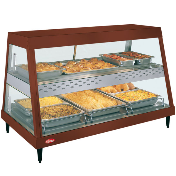 """Hatco GRHD-3PD Antique Copper Stainless Steel Glo-Ray 45 1/2"""" Full Service Dual Shelf Merchandiser Main Image 1"""