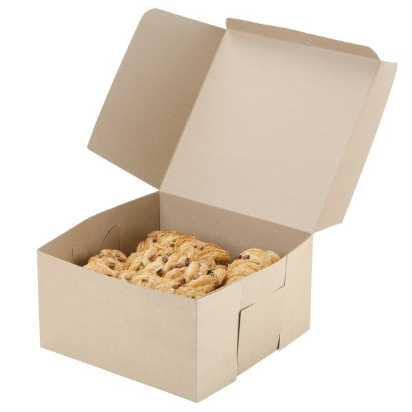 "Southern Champion 0977K 10"" x 10"" x 5 1/2"" Kraft Cake / Bakery Box - 100/Bundle"