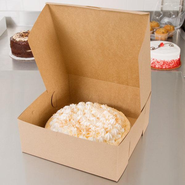 "Southern Champion 0973K 10"" x 10"" x 4"" Kraft Cake / Bakery Box - 100/Bundle"