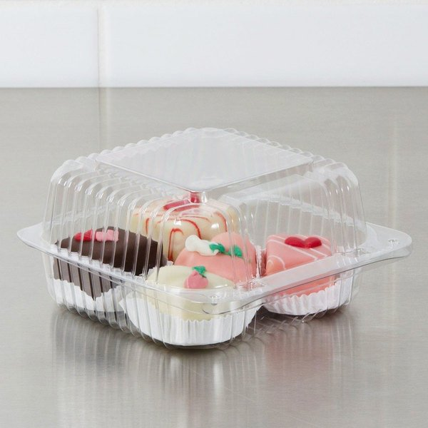 "Dart PET20UT1 StayLock 5 1/4"" x 5 5/8"" x 2 3/4"" Clear Hinged PET Plastic 5"" Square Container - 500/Case"