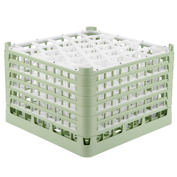 "Vollrath 52849 Signature Lemon Drop Full-Size Light Green 30-Compartment 11 3/8"" XXXX-Tall Glass Rack Main Image 1"