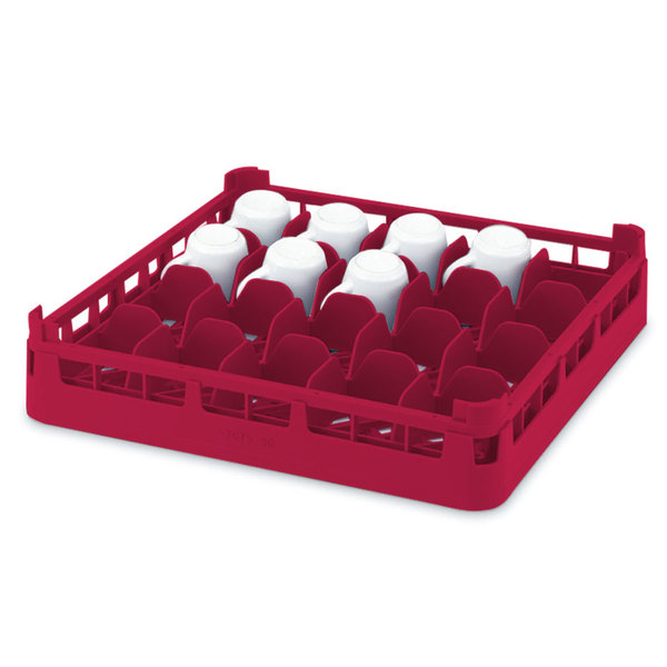 """Vollrath 52674 Signature Full-Size Red 16-Cup 2 3/4"""" Short Rack"""