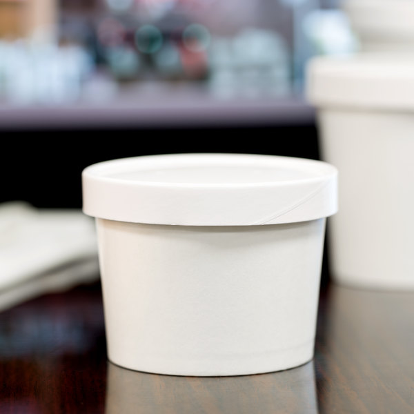 Choice 12 oz. Double-Wall Poly White Paper Soup / Hot Food Cup with Vented Paper Lid - 25/Pack