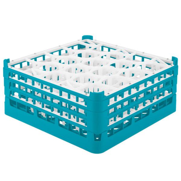 "Vollrath 52706 Signature Lemon Drop Full-Size Light Blue 20-Compartment 7 1/8"" X-Tall Glass Rack"