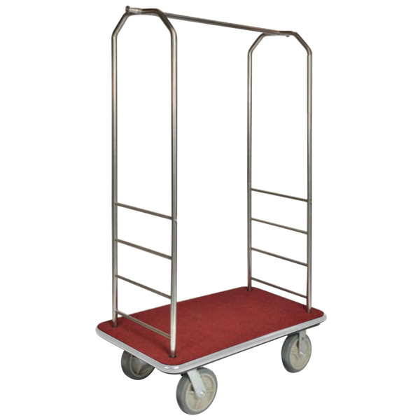 "CSL 2000BK-040 Chrome Finish Bellman's Cart with Rectangular Red Carpet Base, Gray Bumper, Clothing Rail, and 5"" Gray Polyurethane Casters - 43"" x 23"" x 72 1/2"""
