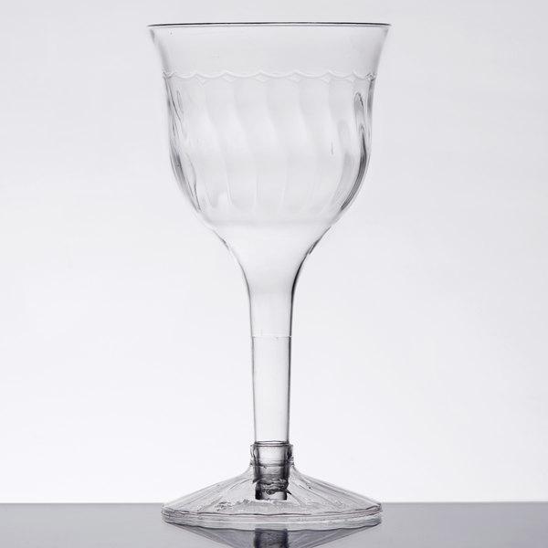 Fineline 2207 Flairware 6 oz. Clear 2-Piece Plastic Wine Goblet - 120/Case