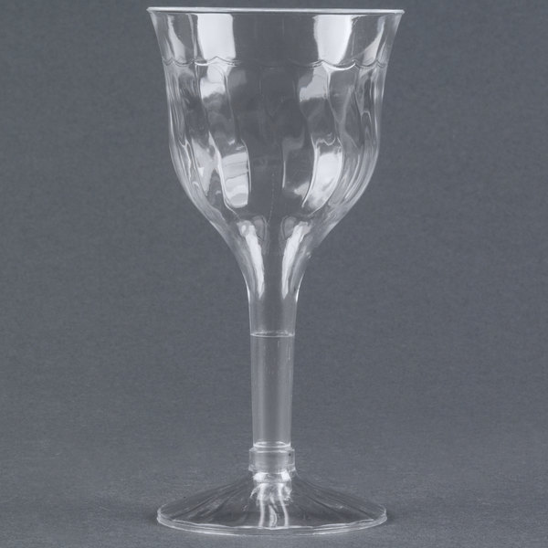 Fineline Flairware 2207 6 oz. Clear Plastic Wine Goblet - 120/Case
