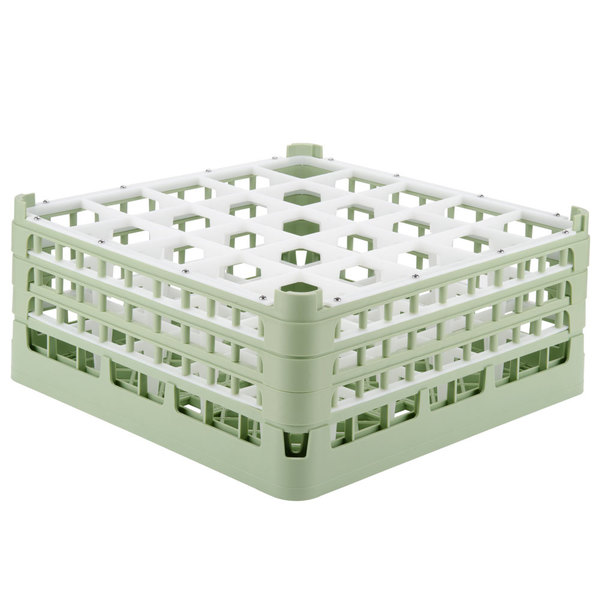 "Vollrath 52712 Signature Full-Size Light Green 25-Compartment 7 1/8"" X-Tall Glass Rack"