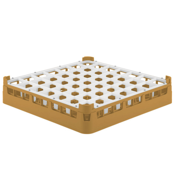 "Vollrath 52699 Signature Full-Size Gold 49-Compartment 2 13/16"" Short Glass Rack"