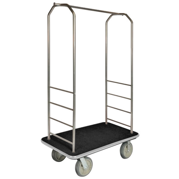 "CSL 2000GY-040 Chrome Finish Bellman's Cart with Rectangular Black Carpet Base, Gray Bumper, Clothing Rail, and 5"" Gray Polyurethane Casters - 43"" x 23"" x 72 1/2"""