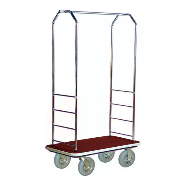 """CSL 2000GY-020 Chrome Finish Bellman's Cart with Rectangular Red Carpet Base, Gray Bumper, Clothing Rail, and 8"""" Gray Pneumatic Casters - 43"""" x 23"""" x 72 1/2"""""""