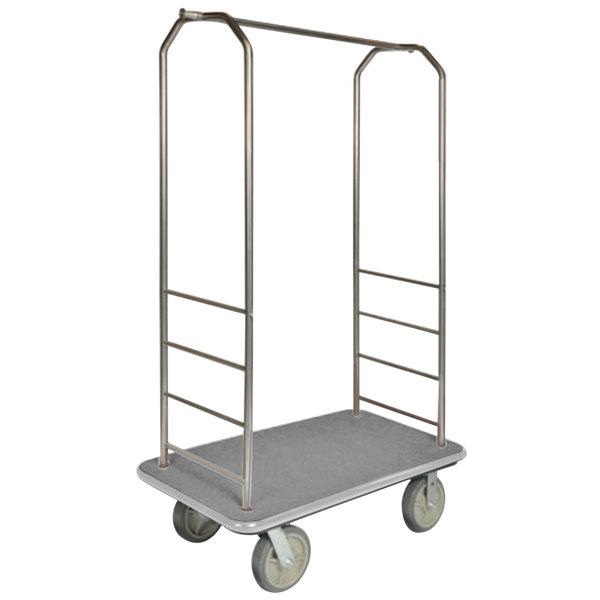 "CSL 2000BK-040 Chrome Finish Bellman's Cart with Rectangular Gray Carpet Base, Gray Bumper, Clothing Rail, and 5"" Gray Polyurethane Casters - 43"" x 23"" x 72 1/2"""