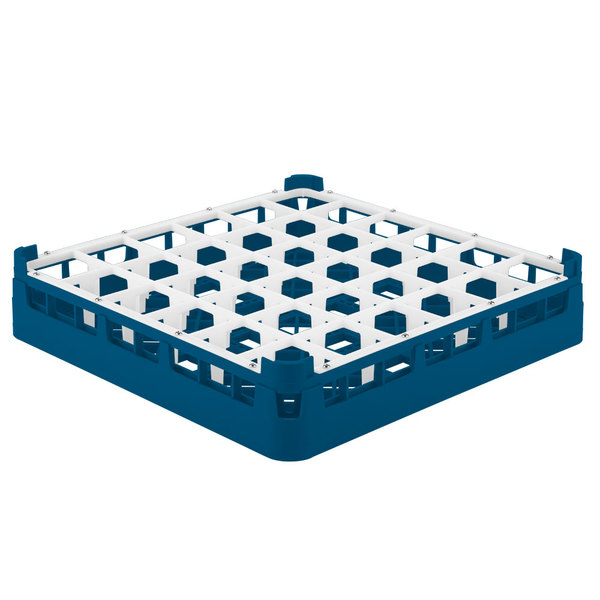 """Vollrath 52689 Signature Full-Size Royal Blue 36-Compartment 2 13/16"""" Short Glass Rack"""
